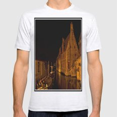 Bruges at night Mens Fitted Tee Ash Grey SMALL