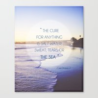 Salt Water Quote, Ocean Photography Canvas Print