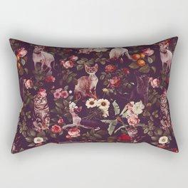 Rectangular Pillow - Cat and Floral Pattern - Burcu Korkmazyurek