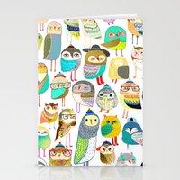 Owls. owl illustration, owl art, owl decor, pattern, art, design, animal, nature, kids, children,  Stationery Cards