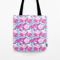 Pink Shabby Chic roses and royal blue vines on white Tote Bag