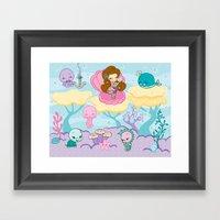 Sparkling Sea Mermaid Print Framed Art Print