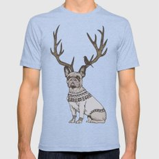 Deer Frenchie  Mens Fitted Tee Tri-Blue SMALL