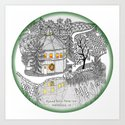 Round Barn Inn, Waitsfield, Vermont near Sugarbush- Zentangle illustration Art Print