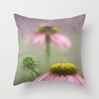 Pink Coneflower Throw Pillow