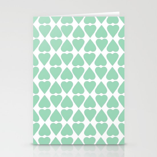 Diamond Hearts Repeat Mint Stationery Card