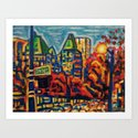 Southbound City Traffic, Vancouver Art Print