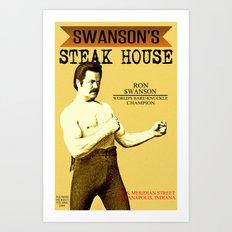 Ron Swanson  |  Steak House Parody |  Parks and Recreation Art Print