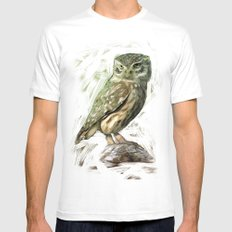 Olive Owl Mens Fitted Tee White SMALL