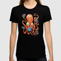 Comic Book Octopus Womens Fitted Tee Black SMALL