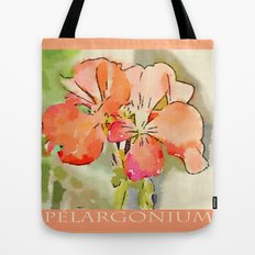 Orange Pélargonium Flowers with Painterly Water Color FX Tote Bag