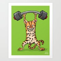 Ocelot Power Lifter Art Print