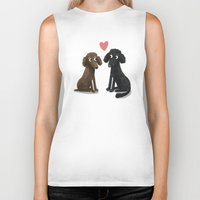 Cute Dog Illustration- Poodles Biker Tank