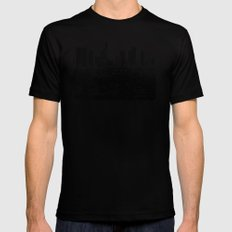 Downtown Los Angeles Skyline - Stamp Pattern on Light Blue Mens Fitted Tee Black SMALL