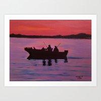 Fishing In The Sunset Art Print