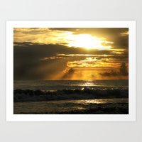 Golden Beach Sunset Art Print