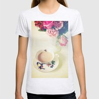 Roses and Chai Tea Womens Fitted Tee Ash Grey SMALL