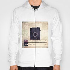 Vintage black camera and Joyce and Dracula books on Map pattern background  Hoody