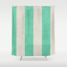 vintage mint stripes Shower Curtain