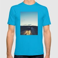 Bison in the Headlights Mens Fitted Tee Teal SMALL
