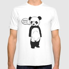 Angry Panda White SMALL Mens Fitted Tee