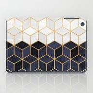 White & Navy Cubes iPad Case
