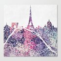 Paris Skyline + Map #1 Canvas Print