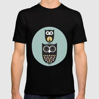 Owl décor - modern nursery art - geometric pattern Mens Fitted Tee Black SMALL