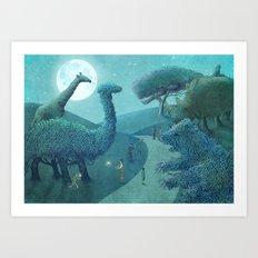 Topiary Park - Night Art Print