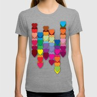 Colored Hearts Womens Fitted Tee Tri-Grey SMALL