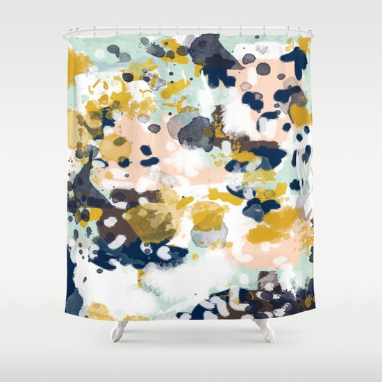 Sloane Abstract Painting In Modern Fresh Colors Navy