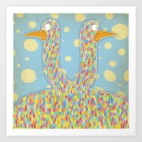 Birds Of A Different Fea… Art Print