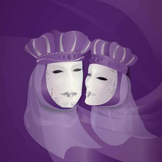 Mascaras Venecianas (Purple) Art Print