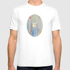 Daniel Rocket Moon White Mens Fitted Tee SMALL