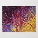 NIGHT FLOWERS 2 - Lovely Relaxing Modern Floral Abstract Acrylic Mauve Purple Plum Eggplant Painting Canvas Print