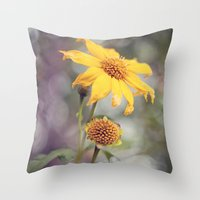Yellow Florals Throw Pillow
