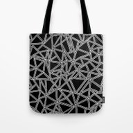 Abstract New White On Bl… Tote Bag