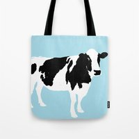 Cow On Blue Tote Bag