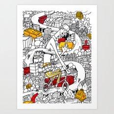 City Biking Art Print
