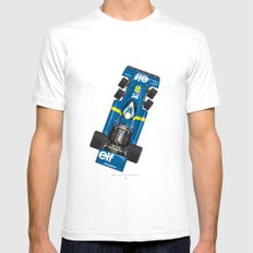 Outline Series N.º3, Jody Scheckter, Tyrrell-Ford 1976 Mens Fitted Tee White SMALL