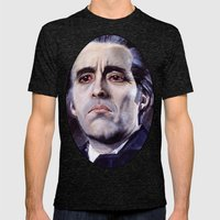 Christopher Lee As Dracu… Mens Fitted Tee Tri-Black SMALL