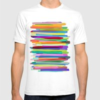 Colorful Stripes 1 Mens Fitted Tee White SMALL