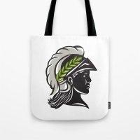 Minerva Head Profile Silhouette Retro Tote Bag