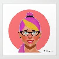 Purple hair girl Art Print