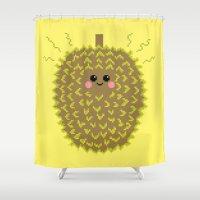 Happy Pixel Durian Shower Curtain