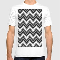 grey chevron White SMALL Mens Fitted Tee