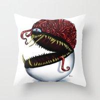 Evil pokeball  Throw Pillow