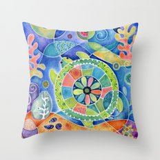 Sea Turtle Abstract Throw Pillow