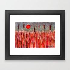 Sunset Over the Cattail Field Framed Art Print