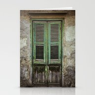 Green Window Shutters Stationery Cards